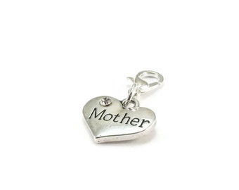 SALE Mother Zipper Pull Heart Purse Charm Silver Clip On Charms