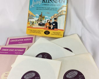 Living Russian A Complete Language Course 4 Records Conversational Booklets Vintage Vinyl Boxed Set