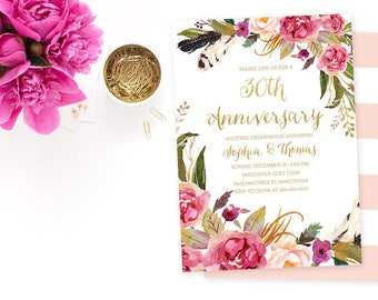 30th Wedding Anniversary Invitation, Floral 30th Anniversary Invite, Printable Wedding Anniversary Invite, Pink Gold Anniversary Invite