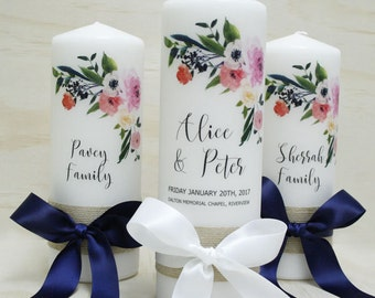Romantic Blossom Wedding Candles - Set of 3