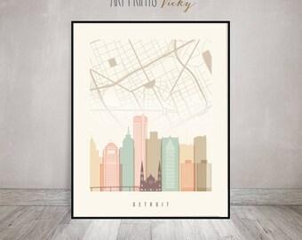 Detroit map, Detroit skyline art, Detroit poster, Detroit art print by ArtPrintsVicky