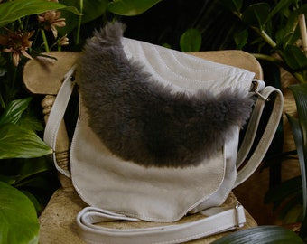 Genuine Soft, Dove Grey Leather, Sheepskin Charcoal Grey, Grey Stitching, Curved Messenger Bag, Long Strap, Over the Shoulder, Crossbody Bag