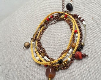 Desert dream wrap bracelet necklace beaded 3 strand necklace mustard yellow