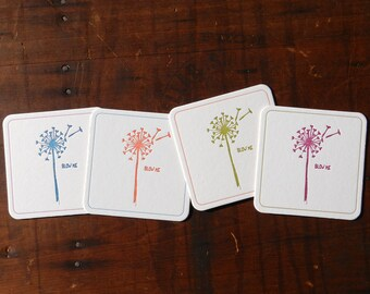 Set of 4 funny Letterpress Dandelion Coasters