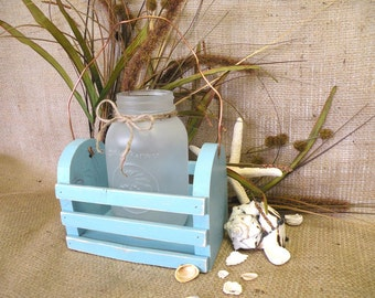 Frosted Mason Jar Vase or Candleholder with Crate in Turquoise - Christmas Decor - Beach, Coastal Home Decor Vase - Shabby Cottage Chic