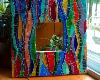 Stained Glass Mosaic Mirror- Waves