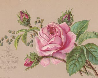 Set of 2-Antique Paper Ephemera Victorian Christmas Paper Diecut Card- Embossed Victorian Pink & Blush Roses-1800s