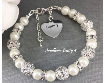 Gift for Granny Charm Bracelet Gift for Grandma Bracelet Pearl Jewelry for Granny Gift Birthday Presents Wedding Jewelry Thank you Gift