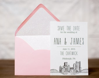 Pittsburgh Skyline Save the Dates | Wedding Save the Date