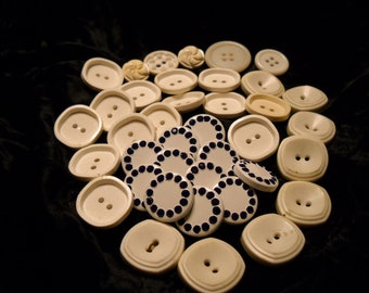 All White Vintage Buttons(35)
