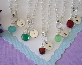 6 Personalized Bridesmaid Bracelet, Monogram Gift, Initial & Gemstone Sterling Silver Bracelet, Custom, Bridesmaid Jewelry, Initial Charm