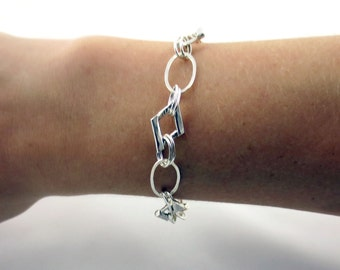 Oval Link Bracelet-Handmade Sterling Silver Chain Bracelet- Geometric Jewelry- Oval and Square Shaped Links- Gifts for her