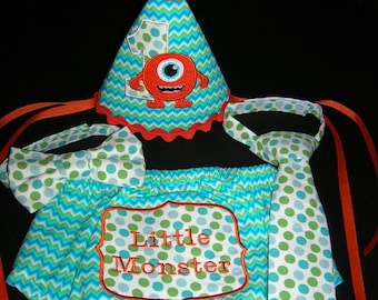 Baby Boy's Diaper Cover, Tie, and Hat Set, Monsters,  Photo Prop, Made to Order