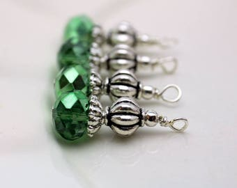 Green Crystal and Silver Ribbed Bead Earring Dangle, Necklace Pendant, Wedding Jewelry, Bridemaid Charms, Jewelry Making