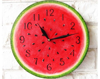 Watermelon, Modern wall clock with numbers, White wall clock, wood clock, white home decor, kids gift, wedding gift, Kitchen style
