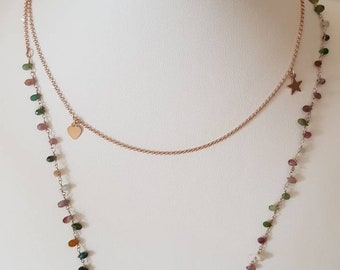 Long necklace in rosy silver, rosary rosary in rosary silver, silver chain with star and heart charms, hard stone necklace