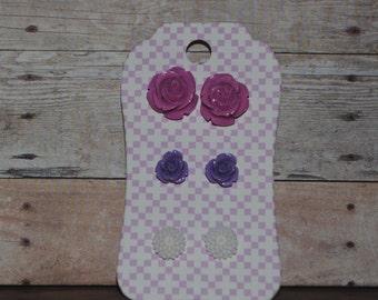 3 Pair Carded Set of Resin Flower Earrings Light Orchid Lavender WhitePerfect Teacher's Gifts