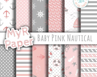 """Digital Paper Pack: """"Baby Pink Nautical"""" patterns and backgrounds with anchor, rudder, sailboat, fish, seawaves. Digital Scrapbooking"""