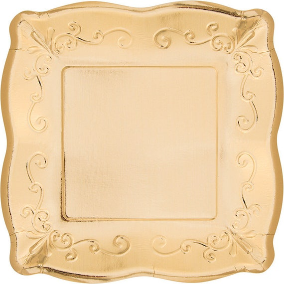 Like this item?  sc 1 st  Etsy & 48 Gold Embossed Paper Plates 10 or 7 Square