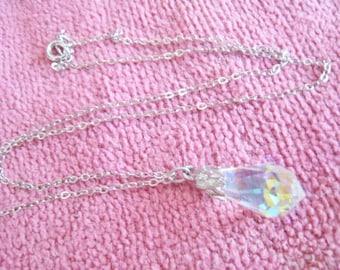 Tear Drop Aurora Crystal Drop Necklace