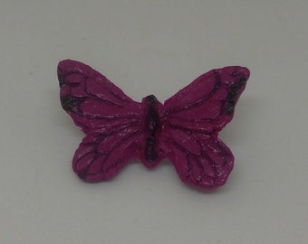 Beautiful Butterfly Purple Brooch Polymer Clay