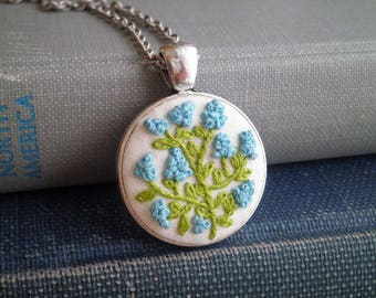 Embroidery Necklace -  Blue Hyacinth Wildflowers Embroidered Necklace - Mini Flower Garden - Floral Fiber Art Mini Terrarium Jewelry Gift