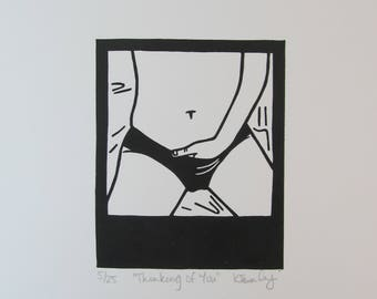 Thinking Of You - Original Linocut Print - Signed, Numbered Edition of Just 25 - Free Postage in UK