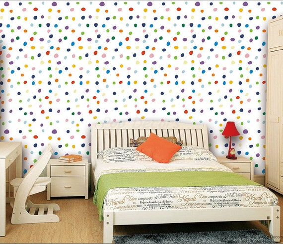 Kids Rooms Climbing Walls And Contemporary Schemes: Kids Room Wall Decors Colorful Polka Dots Wallpaper Modern