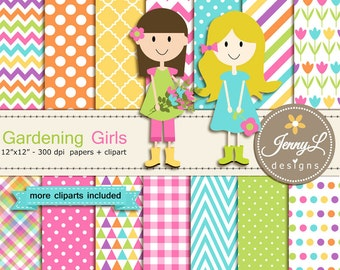Gardening Girls, Spring garden Digital Paper and Clipart, Tulip, Garden for Baby Shower, Wedding, Birthday and digtial Scrapbooking