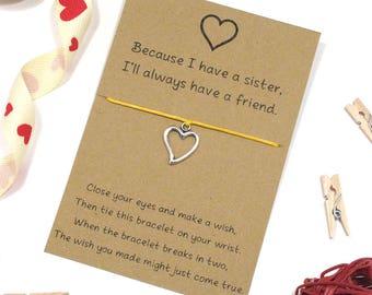 sister bracelet, heart wish bracelet, sister charm bracelet, sister gift, cord bracelet, friendship bracelet, best friend, sister gift idea