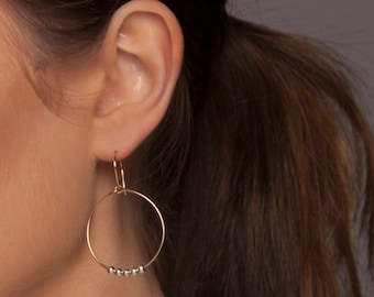 Gold Hoop Earring with Silver Beads, Mixed Metal Hoop Earrings, Gold and Silver Hoop Earrings, Dangle Earrings, Light Hoop Earrings
