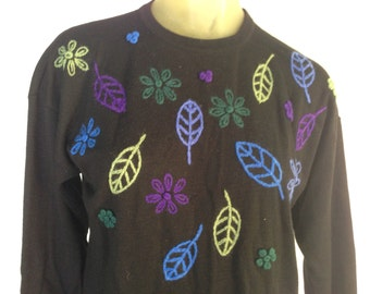 Fall Leaves Sweater, Vintage Liz Claiborne Sweater, Black Wool Sweater, Periwinkle Blue Purple Green Leaves Fall Sweater Autumn Petite, S M