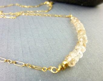 Imperial Topaz Chakra Necklace, Gemstone Bead Bar, Crown Chakra Heart Chakra Solar Plexus Chakra, Healing Crystals Energy Jewelry