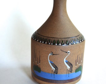 Vintage Pottery Vase, Hand Painted, Birds