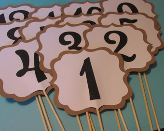 table numbers,Wedding, Shower, table numbers on a stick, table number centerpieces