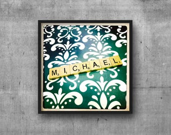 MICHAEL - MIKE - Name Art - Scrabble Tile Name - Art Photo - Photography Art Print - Name Sign