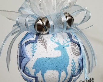 Winter Deer Quilted Ornament, Christmas Ornament, Woodland Ornament