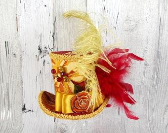 Red, Gold, and Orange Floral Rose Empress Collection Large Mini Top Hat Fascinator, Alice in Wonderland, Mad Hatter Tea Party, Derby Hat