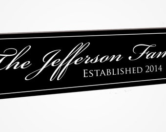 Personalized Family Name Sign Established Plaque Carved and Painted.  FJ5x24