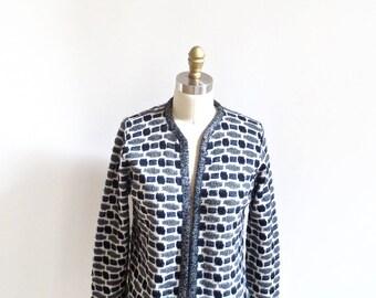 1960s Vintage Textured Knit Cardigan / Black White Grey Geometric Cardigan