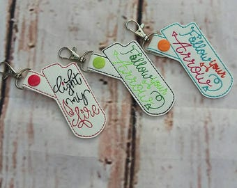 Embroidered Keychain Lighter Holders