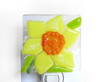 Daffodil Night Light Fused Glass White Yellow Easter Nightlight Handmade OOAK