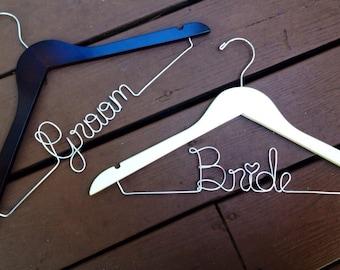 SALE 2 Hangers Bride and Groom Hanger, Bridal Hanger, Groom Hanger, White Bridal Hanger, Black Groom Hanger, Bridal Hanger, Fast Shipping