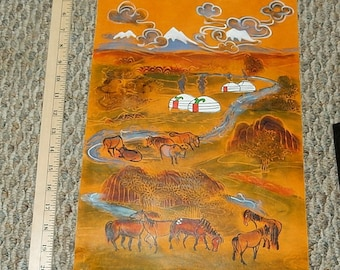Leather Painting Folk Art Wall Hanging SPECIAL 10% OFF
