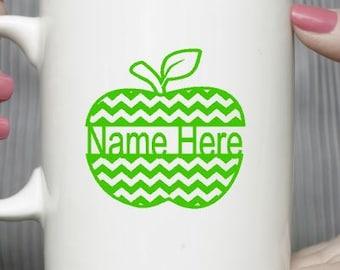 Apple mug-Personnalized mug -Valentines Day Gift-Fruit mug-Coffee mug-Ceramic mug-Holiday gift- Gift for friend- Vinyl mug- Teachers gift