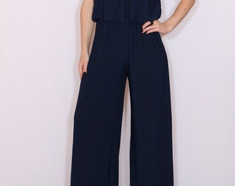 Jumpsuit navy blue Halter top  Wide leg pants Bohemian clothing Handmade Sleeveless jumpsuit