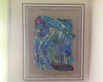 Rhapsody in blue textile art picture