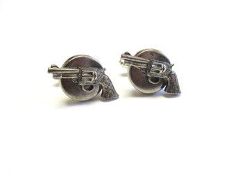 Gun Cuff Links Pistol Revolver Western Cufflinks Silver
