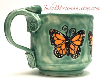 Ceramic Stoneware Mug Monarch Butterflies on Celadon Teacup Coffee Cup 12 Ounces MG0010
