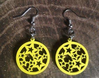 Wood Star Earrings - Yellow Lightweight Dangle Earrings - Makes a Great Gift!